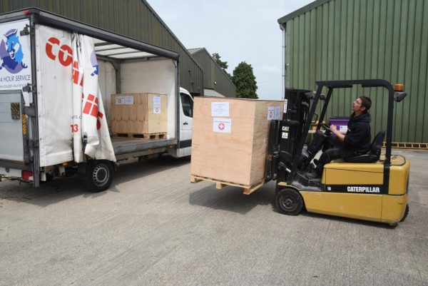 Our pallet of surgical kit being loaded up at Medaid's base near Bedford